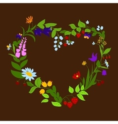 Heart shaped frame with flowers and berries vector image