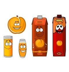 Sunny cartoon peach juice characters vector image vector image