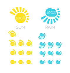 set of icons of sun and rain in vector image