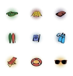 Vacation icons set pop-art style vector image