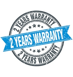 2 years warranty blue round grunge vintage ribbon vector image
