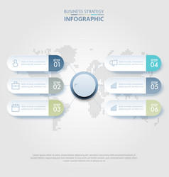 6 steps modern and clean business infographics vector image