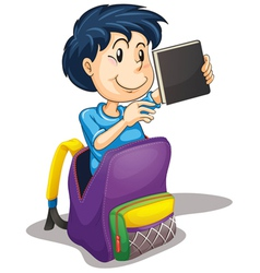a boy in the school bag vector image vector image