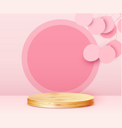 Abstract scene background cylinder podium on pink vector