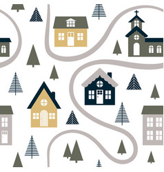 Abstract seamless pattern with cute houses trees vector