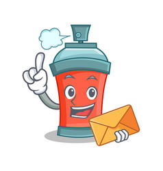 aerosol spray can character cartoon with envelope vector image