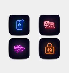 Airplane mail and online survey icons password vector