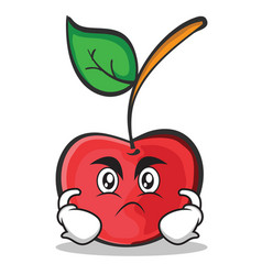 angry face cherry character cartoon style vector image