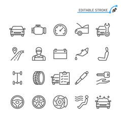 auto service line icons editable stroke vector image