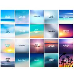 Big set 20 square blurred nature backgrounds vector