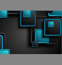 Black and blue neon squares abstract hi-tech vector