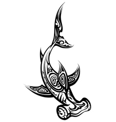 Black and white hammerhead shark polynesian tattoo vector
