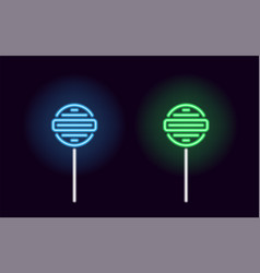 Blue and green neon lollipop vector
