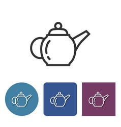 Brewing teapot line icon in different variants vector