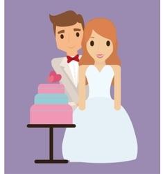 bride groom cartoon and save date design vector image
