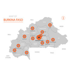burkina faso map with administrative divisions vector image