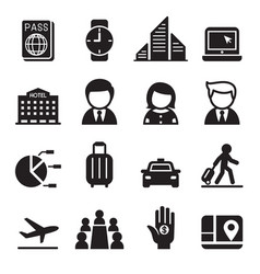 Business trip travel meeting seminar icon set vector