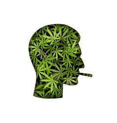 cannabis smoker male head silhouette vector image