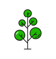 cartoon tree green linear forest park object icon vector image