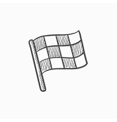 Checkered flag sketch icon vector image