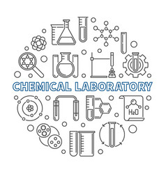 Chemical laboratory concept round outline vector