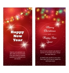 Christmas snowy red winter banners vector
