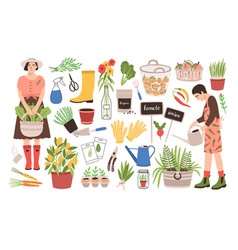 Collection of two female gardeners and gardening vector