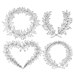 Collection with heart wreaths laurel space for vector