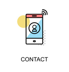 Contact icon and cellphone on white background vector