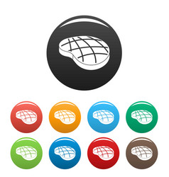 cook steak icons set color vector image