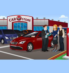 Couple buying new car vector