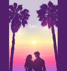 couple sunset vector image