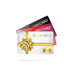 Credit or debit cards with golden ribbon gift vector
