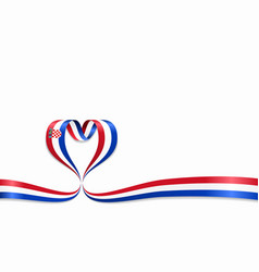 Croatian flag heart-shaped ribbon vector