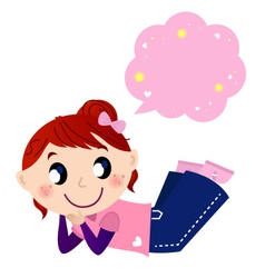 Cute dreaming girl with speech bubble vector image