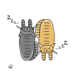 Cute sleeping cats sketch for your design vector