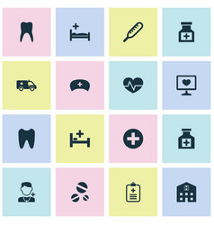Drug icons set with bed doctor temperature and vector