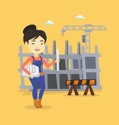 engineer with hard hat and blueprint vector image vector image