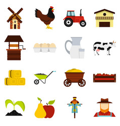 farm set flat icons vector image