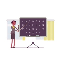 Female teacher is teaching alphabet vector