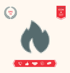fire flame - halftone logo vector image