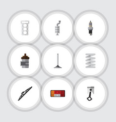 Flat icon component set of crankshaft spare parts vector