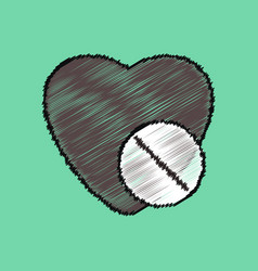 Flat shading style icon heart with medical pills vector