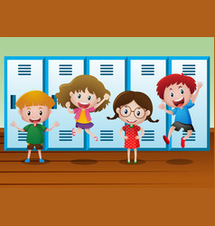 Four kids standing by the lockers vector