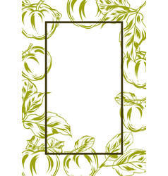 Frame with apples and leaves vector