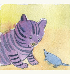 friendship cat and mouse meeting vector image