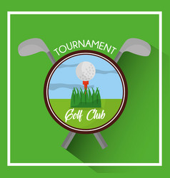 golf club tournament ball and clubs cross vector image