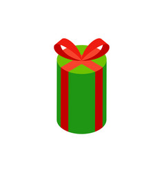 green circle gift box isometric object vector image