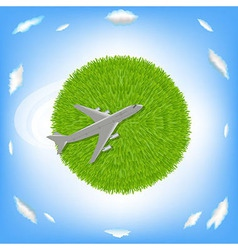 Green Planet And Plane vector