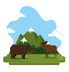 Grizzly bear and moose canadian scene vector